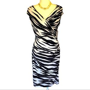 Vince Camuto St. Barts blue and white ruched dress